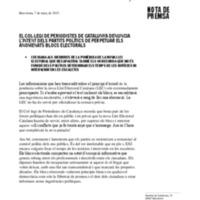 El Col·legi de Periodistes de Catalunya denuncia l'intent dels partits polítics de perpetuar els anomenats blocs electorals