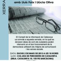 """Cartell de la conferència """"El dret de la gent gran a una informació ètica"""", organitzada pel Consell de la Informació de Catalunya i la Federació d'Associacions de Gent Gran de Catalunya"""