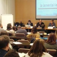 Intervenció dels representants de La Lamentable, Maria Eugenia Ibáñez i Eugenio Madueño