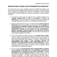 Comunicat i resolució sobre el cas de la publicació d'sms entre polítics