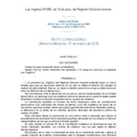 Espanya. Ley Orgánica 5/1985, de 19 de junio, del Régimen Electoral General