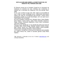 Comunicat sobre la renovació del CIC pel 2004-2008