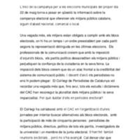 Nota del Col·legi de Periodistes sobre la campanya electoral de les municipals 2011